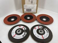 "3M 49611 Abrasive Flap Disc 747D, Type 27, 7"" in x 7/8"" in Grade 80 QTY (5)"