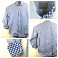 Thomas Dean Mens Large (46 in Chest) Blue Checkered Flip Cuff L/S Button Up