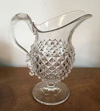 Antique EAPG Glass Pitcher Milk Jug Creamer American Saw Tooth Pattern 19th c.