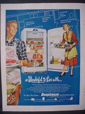 1951 Deepfreeze Refrigerator Home Appliances Couple Cooks Vintage Print Ad 12258