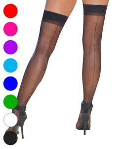 Sheer Thigh High Stockings With Back Seam - Dreamgirl 7031