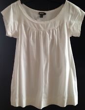 DKNY Ivory Tunic Top Size 10 Scoop Neck 100% Cotton