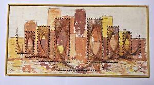Vintage Midcentury Framed Copper Wire, Nail & Paint Cityscape w/Bridge 1975