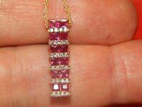 14K Yellow Gold Over Effy 2.10CT Diamond & Princess Cut Ruby Pendant Necklace