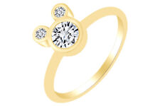 Round Shape Cubic Zirconia Mickey Mouse Ring 14K Yellow Gold Over