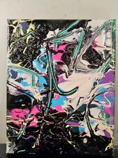 ABSTRACT CANVAS PAINTING BY MUSKYAI 8X10 MUSK YAI ~ 2017 NYC 1 OF A KIND~
