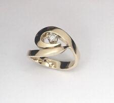 Diamond Ring, Handmade 14ct yellow gold ring