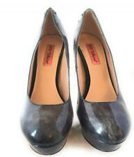 "Betsey Johnson Women Shoes Corset Lace-up 5"" Hi Heels Sz 9M Gray Patent Leather"