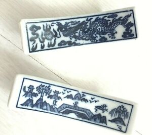 2 JAPANESE DRAGON LANDSCAPE CHOPSTICKS DISPLAY HOLDER STAND REST CHINESE DINNER