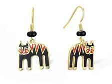 Laurel Burch Magicat Cat Earrings #5105 Pierced Gold Tone Drop Dangle, New NWT