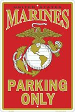 "Usmc Marines Parking Only 8"" x 12"" Metal Sign Garage Embossed Plaque Wall Decor"