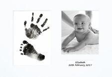Newborn Hand print Footprint Kit Personalised Baby Shower Gift Christening White