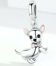 🇬🇧💜💜925 STERLING SILVER CHIHUAHUA DOG CHARM & POUCH