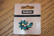 JOB LOT 5 x Babyliss Vintage Style TEAL Diamante Flower Leaf Hair Clips Grips