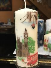 CATH KIDSTON LONDON TOWN(London Attraction HAND DECORATED PILLAR CANDLE 15x6cm