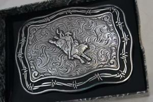CRUMRINE Belt Buckle BULL RIDER Barbed Wire border M & F Western cowboy 38028