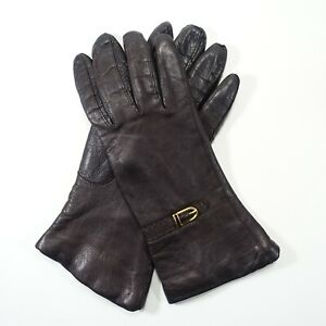 """Genuine Chocolate Brown Leather Gloves 100% Cashmere Lined 9"""" Sz 6.5 Italy"""
