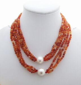 "33"" 3 Strands Red Agate White Shell Pearl Long Necklace"