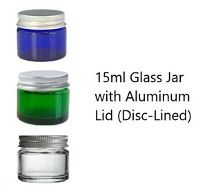 Glass Cosmetic Jars Empty ALUMINUM LID Beauty Skincare Crafts AMBER BLUE CLEAR