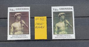 Grenada Stamp SG745 1/2 Cent Michelangelo Colour Error