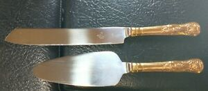 Hallmark Wedding Cake Knife Serving Set Gold Toned Handles