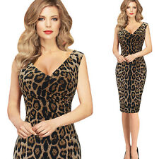 Women Leopard Sexy Bodycon Casual Party Cocktail Work Club Office Pencil Dresses