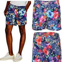 "Polo Ralph Lauren Mens Floral Print Hawaii Swim Trunks 5-1/2"" Shorts Watercolor"