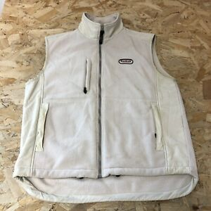 Vintage Zip Up Fleece Gilet L Large Reebok Cream B6081