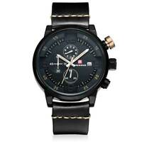 Luxury Stainless Steel Black Analog Chronograph Mens Quartz Sport Wrist Watch