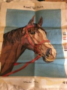 "Royal Paris HORSE Needlepoint Canvas  49 Retouche Main Large 14.5"" x 19"" Vintage"