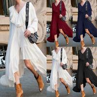 Size Women Ladies Ruffle Party V-neck Casual Midi Dress Asymmetric Sundress 8-26