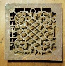 "Ornate Cast Iron Heating Grate Register Vent w/Louvers Fits 9 x 9"" Hole"