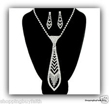 Clear Crystal Rhinestone Necktie Necklace Earring Set Christina Collection New