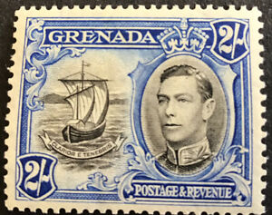 Grenada George VI 2/- Definitive SG161a Perf 13 1/2 X 12 1/2 Mounted Mint