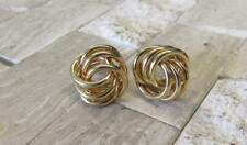 Gold Plated Post Knot Earrings w/ 14KT Gold Posts (Only Posts Gold) ~ 10-E7670