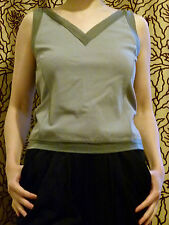 Giorgio Armani grey viscose jersey top with organza trim IT size 42 UK size 12
