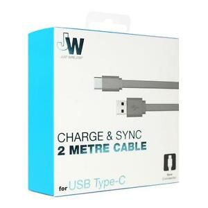 Just Wireless Charger USB Type-C Data Cable Flat Strong & Extra Long 2m Grey
