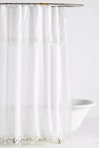 """NWT Anthropologie White Tasseled Antioch Shower Curtain 72"""" Square  $118"""