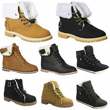 NEW LADIES WOMENS ARMY COMBAT FUR LINED GRIP SOLE WINTER ANKLE BOOTS SHOES SIZE