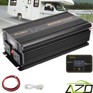 AZO Power Inverter 3000W/6000W 12V to 240V Converter Softstart LCD Display UK