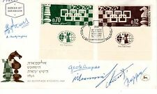 16th World Chess Olympic Games:Cyprus team autographs on an Israel 1964 FDC