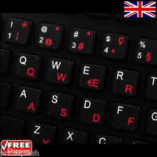 Swiss Transparent Keyboard Stickers With Red Letters for Laptop PC Computer