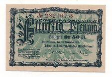 GERMANY SONDERSHAUSEN 50 PFENNIG 1918 NOTGELD EMERGENCY MONEY UNC LOOK SCANS