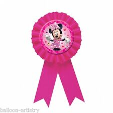 15cm Disney Minnie Mouse Pink Party Favour Prize Award Ribbon Badge