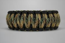 550 Paracord Survival Bracelet King Cobra Black/Multi Camo Camping Tactical