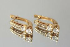 1.20ct Round Drop Dangle Lever Back Diamond Earrings 14k Solid Yellow Gold