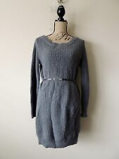 MODA INTERNATIONAL BELTED SWEATER FITTED DRESS WOOL~MOHAIR IN STORMY GRAY SIZE S