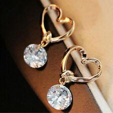 Hollow Heart Gold Plated Ear Stud Women Charm Dangle Crystal Rhinestone Earrings