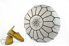 White Moroccan poufs for living room leather ottoman pouf for sitting boho poufs
