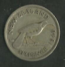 NEW ZEALAND 1940 KING GEORGE VI SILVER 6d SIXPENCE (No 1)